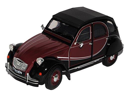 Welly Citroen 2cv Braun Rot Schwarz Charleston 6 Ente 1949-1990 1/24 Modell Auto mit individiuellem Wunschkennzeichen