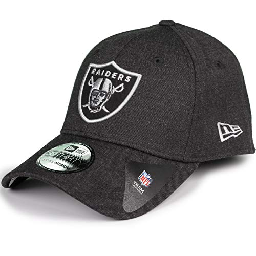 A NEW ERA Era Oakland Raiders Heather Essential Stretch Fit Cap Black 3930 39thirty Curved Visor S M NFL