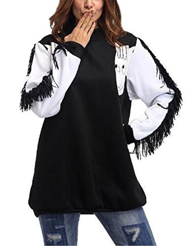 Haililais Mujer Universidad Casual De Manga Larga Jersey Patchwork Ligero Personalizadas Camiseta Bonitas con Borla Sudadera Hipster Empalme De Color Pullover
