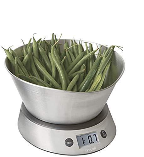 Taylor Pro Balanza Digital de Cocina con Recipiente Extraíble, Nivel Profesional con Función de Peso con Tara y Alta Precisión, Acabado en Acero Inoxidable, 5 kg de Capacidad