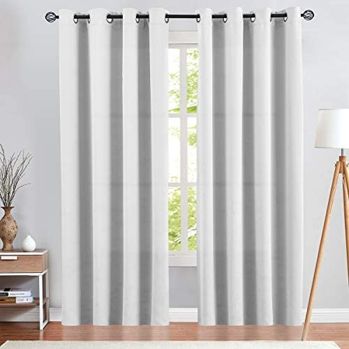 Moderate Blackout Curtains White Curtains 84 inch Bedroom Curtains Living Room Darkening Window product image
