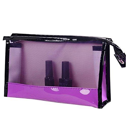 Topjin Portable Transparent Sac à main Maquillage Toilette cosmétiques Sacs de voyage étui de rangement Sacs violet violet 23*6*14cm