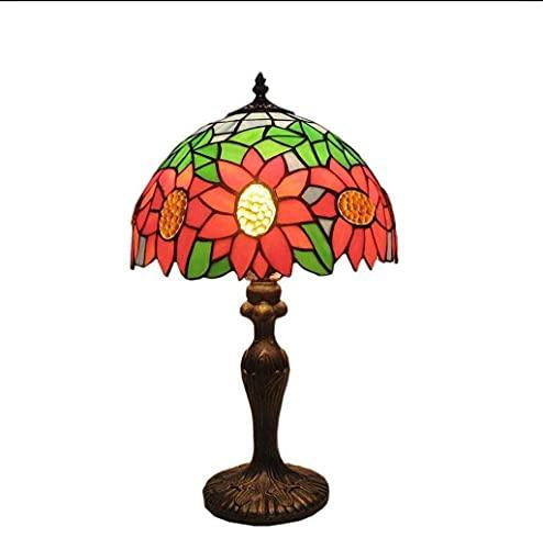 LLLKKK Lámpara de mesa clásica de estilo Tiffany de 30 cm, con interruptor de intensidad
