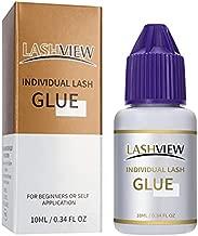 LASHVIEW DIY Individual Lash Glue,Sensitive Eyelash Extension Glue,Sensitive for Self Application,Cluster Lash Glue,Black Eyelash Glue Adhesive for Individual Cluster Lashes,No Fume,No Irritation10ML