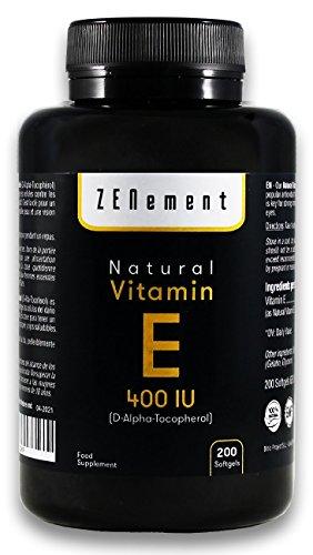 Vitamina E Natural 400 UI (D-Alfa-Tocoferol)   200 perlas: Suministro para más de 6 meses   Antioxidante que protege las células del estrés oxidativo   No GMO   de Zenement