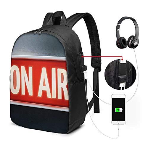 ラップトップバックパック USBポート スクールリュックサック 15.6インチ ラップトップ に適合 ラジオ放送サイン