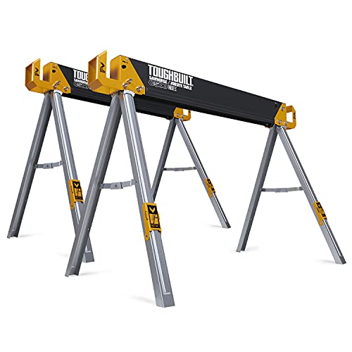 ToughBuilt - Sawhorse with 2x4 Support Arms 1100 LB Capacity - Heavy Duty Construction with Fast Open Legs and Easy Grip Handle - (TB-C500) - 2-Pack