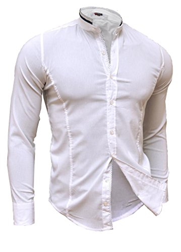 D&R Fashion Shirt Casual Formal Stand-Up Collar Slim Fit Decorative Fastening Many Colours White
