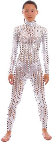 Seeksmile Unisex Hollow-Carved Shiny Lycra Dancewear Catsuit Bodysuit (Small, Silver)