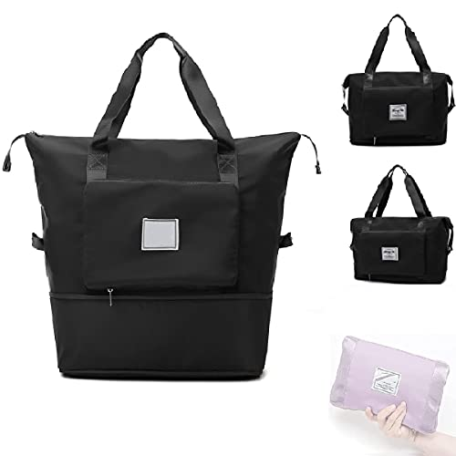 Large Capacity Folding Travel Bag, Dry and Wet Separation Oxford Fabric Sports Portable Shoulder Bag, Shopping Gym Sports Carry-on Bags Folding Travel Bag - Weekend Bags for Women (Black)