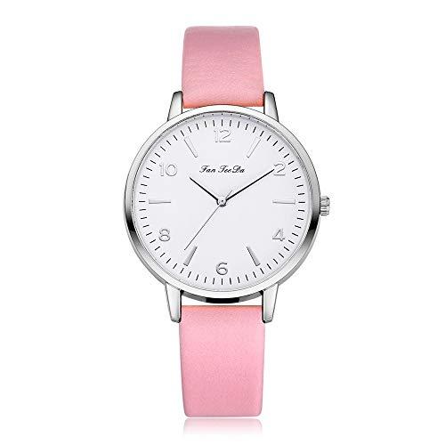 VECOLE Uhren Damen Sleek Minimalist Genau kalibrierte arabische Ziffern Zifferblatt Lederarmbanduhr Mode lässig Armbanduhr Quarz Analoganzeige Uhr(Mehrfarbig-2)