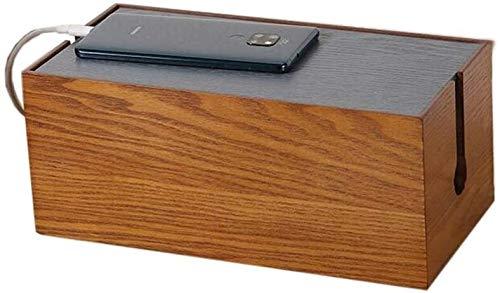 Rack de enrutador Estantes Caja de administración de cables de madera rústica, organizador de cuerdas, soporte de almacenamiento for escritorio, TV, computadora, concentrador USB, sistema for cubrir,