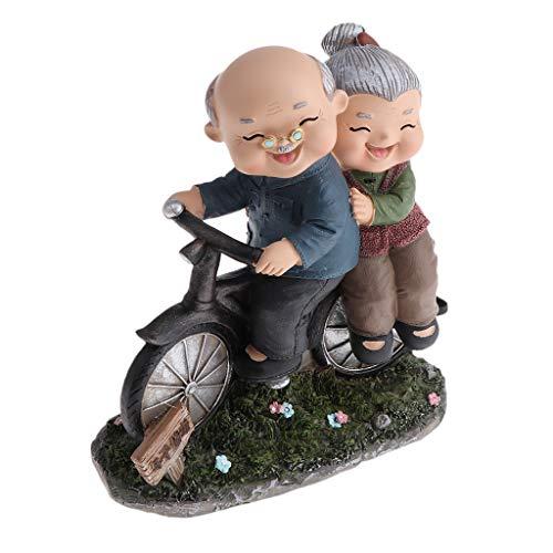 B Blesiya Ornamento Navidad Cumpleaños Figuras Pareja Vieja Suministros de Cortacésped Decoración Jardín - Bicicleta