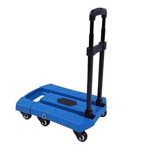 GOTOTO Plataforma para carretilla de 400 kg, plegable, con marco y palanca telescópica, carro portaequipajes portátil con 6 ruedas para casa, patio, tienda, almacén, de metal