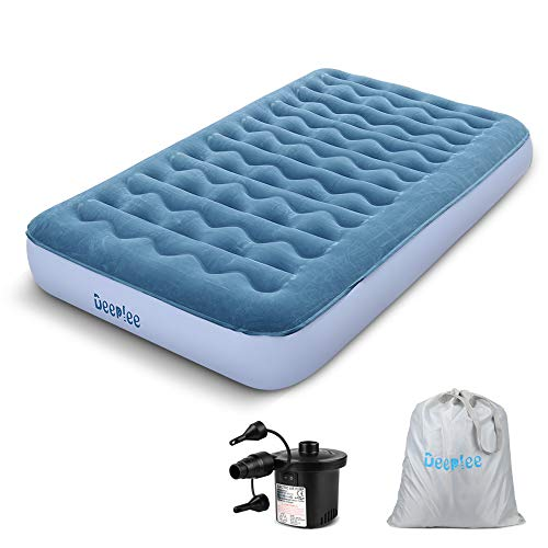 Deeplee Air Bed, Single Airbed Twin Size Air Mattress for Outdoor Indoor Inflatable Bed Blow up Bed with Rechargeable Pump, Storage Bag