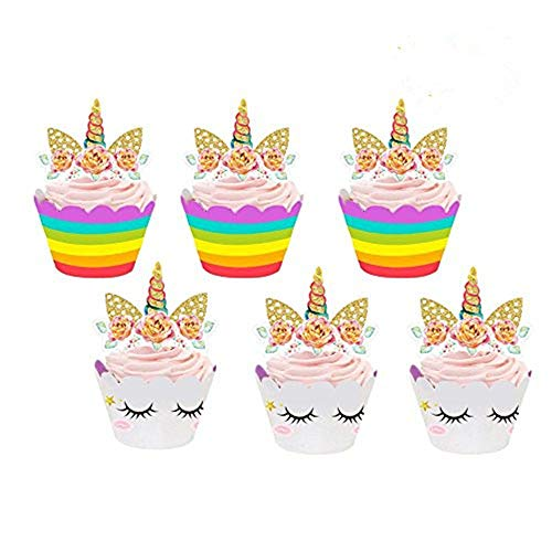 Blanketswarm 24 Stücke Einhorn Cupcake Toppers und Wrappers Verpackung Beidseitig Kinder Party Kuchen Dekorationen