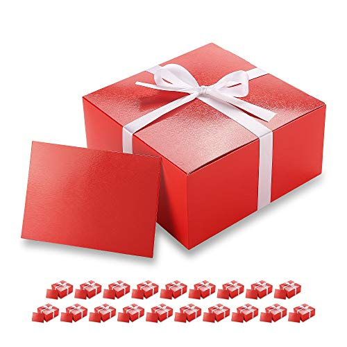 PACKHOME 20 Red Gift Boxes 8x8x4 Inches, Bridesmaid Boxes, Paper Gift Boxes with Lids for Gifts, Crafting, Cupcake Boxes, with Greeting Cards and Satin Ribbons (Glossy with Embossing)