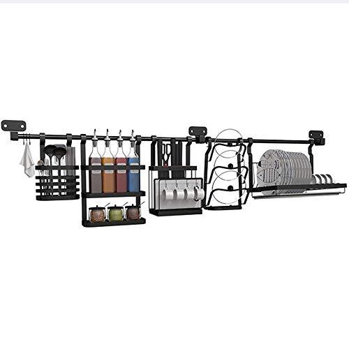Nfudishpu Küchenregal Wandregal zur Wandmontage - Schwarzer Edelstahl mit 145 cm Stange und Sockel Für Küche, Lagerung