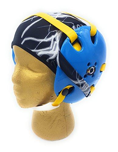 Wrestling Hair Cap - Under The Headgear 4 Strap Style - Black Lightning (Black Trim)