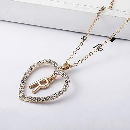 Lai-LYQ halsketting voor dames, strass, ingelegd, met hartketting, kabel B F H R, halsketting met letterhanger voor bruiloft, avond, feest, sieraden, verjaardagscadeau, Valentijnsdag