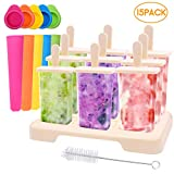 Ice Lolly Moulds, Icnow 15 Pack Molds Set 9 Ice Lolly Makers 5 Pack Silicone Ice Lolly Pop Ice Cream Moulds LFGB Certified BPA Free for Kids,Toddlers and Adults with Cleaning Brush.