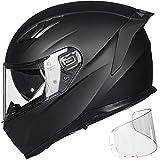 ILM Motorcycle Snowmobile Full Face Helmet Pinlock Insert Anti-fog Dual Visor Motocross ATV Casco for Men Women DOT ECE (Matte Black, L)