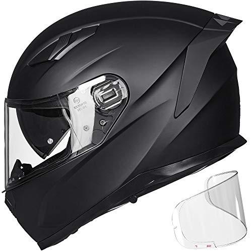 ILM Motorcycle Full Face Helmet Pinlock Insert Anti-fog Snowmobile Dual Visor Motocross ATV Casco for Men Women DOT (Matte Black, L)