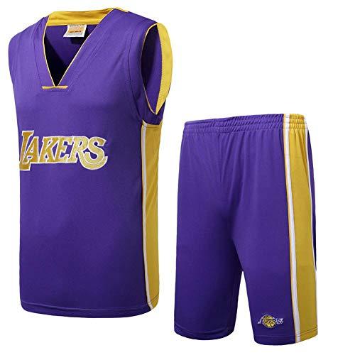 BCGG # 3 Camiseta de Anthony Davis Lakers, Chaleco de Baloncesto para niños, Conjunto de edición de Fan para niñas Bordado (con Pantalones Cortos) púrpura-5XL