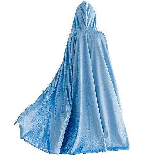 Kostüm für Mädchen, Prinzessin Elsa, Umang, Mantel für Halloween, Party, Cosplay, Winter, aus Samt, mit Kapuze, lang Gr. Large, blau