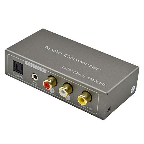 Ozvavzk HDMI ARC Digital Audio Convertidor,192kHz Convertidor Digital a Analógico HDMI ARC Coaxial Toslink a Estéreo R/L Coaxial con 3.5mm Jack ARC HDMI Adaptador para BLU-Ray DVD PS4 TV.