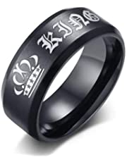 Men's black ring with the logo of the king's crown size 13