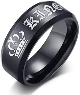 Men's black ring with the logo of the king's crown size 10