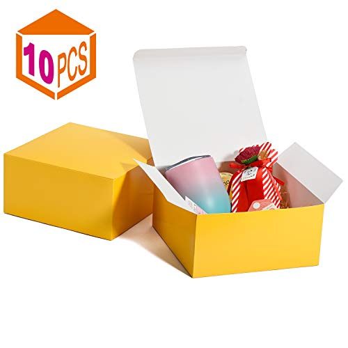 MESHA Gift Boxes 10 Pack 8 x 8 x 4 Inches, Yellow Paper Gift Boxes with Lids for Gifts, Crafting, Cupcake Boxes