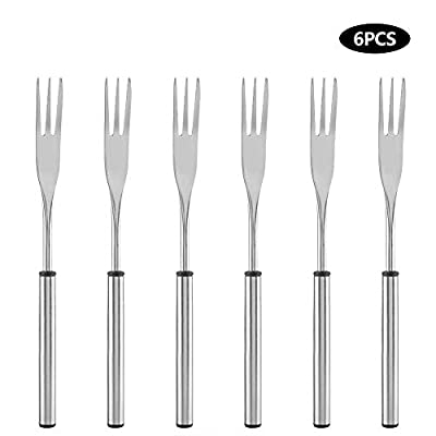 Mumusuki 6 Pack Stainless Steel Hot Pot Fondue Fork Outdoor Picnic BBQ Grilling Skewer for Cheese Chocolate Fondue Roast Marshmallows Meat