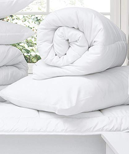 Home & Bath Co. 4.5 Tog Anti-Allergy Corovin Hollow Fibre Filled Duvet/Quilt Made In The UK. (Pillow Pair)