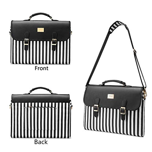 Computer Bag Laptop Bag for Women Cute Laptop Sleeve Case for Work College, Stripe-Black, 14-Inch