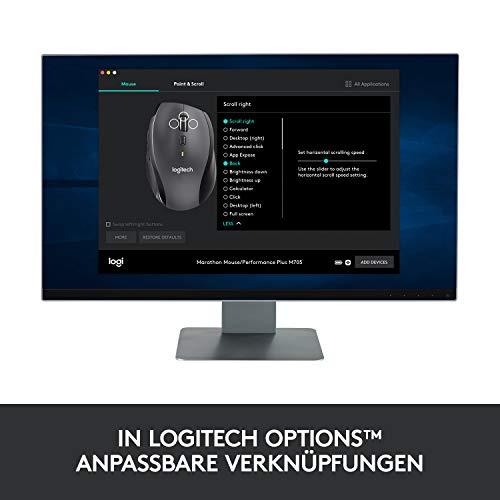 Logitech M705 Marathon Kabellose Maus, Umweltfreundliche-Verpackung, 2.4 GHz Verbindung via Unifying USB-Empfänger, 1000 DPI Laser-Sensor, 3-Jahre Akkulaufzeit, 7 Tasten, PC/Mac - Grau - 8
