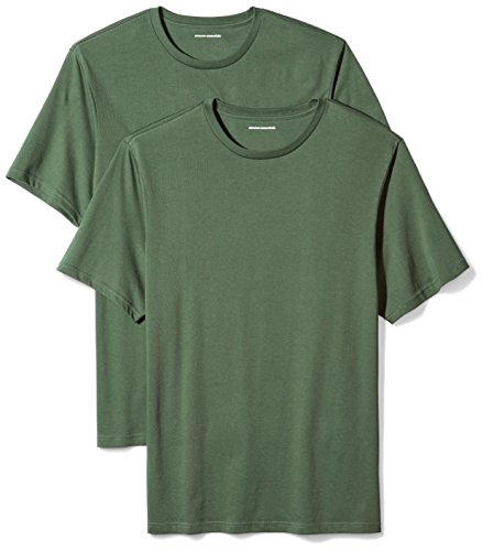 Amazon Essentials 2-Pack Regular-Fit Short-Sleeve Crewneck T-Shirts Camiseta, Verde (Dark Green), X-Small