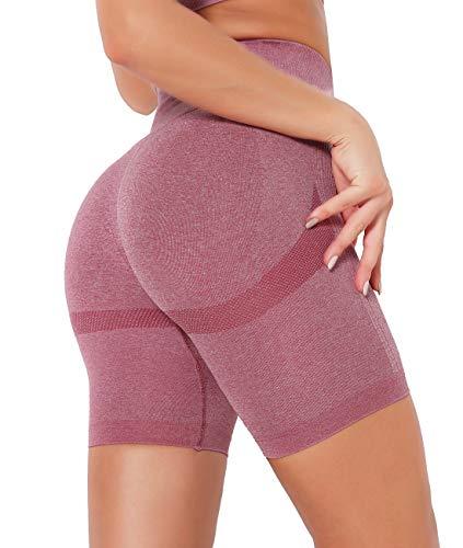 SLIMBELLE Pantalones Cortos Deporte Mujer Yoga Leggings Push up Short Mallas Running de Cintura alta Leggins Deportivos para Fitness Gimnasio Verano Casual Elásticos Cómodo y Transpirable