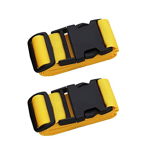 Adjustable Travel Luggage Strap, Nylon Suitcase Luggage Belt Tage Set to Keep Your Luggage Organized and Secure, 43'-78' Adjustable (2Yellow)