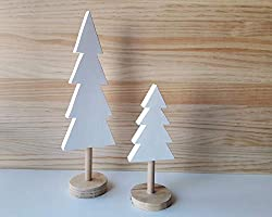 Pack de árboles de Navidad de madera en blanco y pino natural de estilo nórdico - Alturas: 32 cm y 20,5 cm - Decoración...