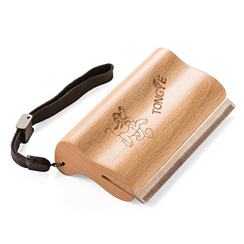 TONGYE Pet Grooming Comb Brush De-Shedding Tool with Ergonomic Design Wooden Handle-Adjustable Strap for Large Adult Dog Horse