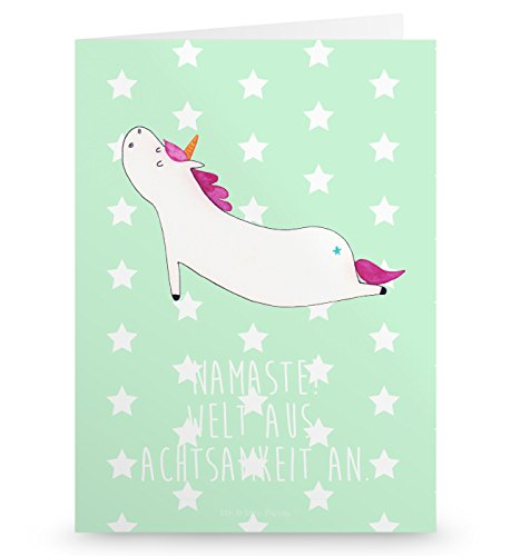 Mr. & Mrs. Panda Grußkarte Einhorn Yoga - 100% handmade in Norddeutschland - Gutscheinkarte, Karte, Yoga, Klappkarte, Papier, Grusskarte, witzig, Sport, Einhörner, Karton, Joga, Einhorn