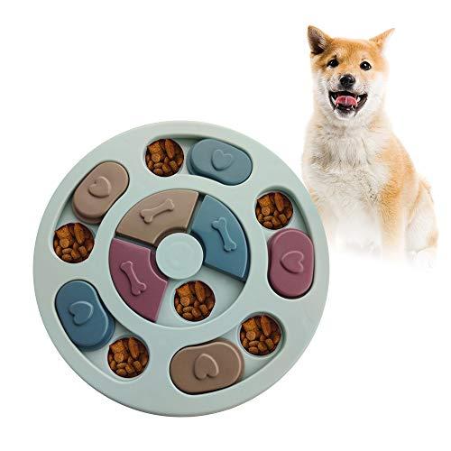 Andiker Juguete de Puzle para Perros, Rompecabezas Interactivo Duradero para Perros, Alimentador Lento para Perros, Dispensador de Premios para Perrito (Azul)