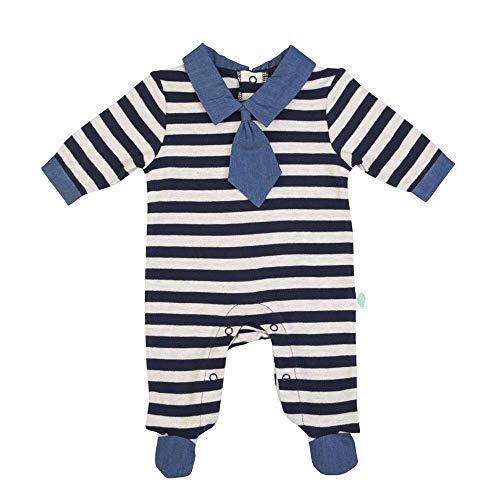 Body para bebé de 0 a 3 meses, de algodón cálido con corbata a rayas azules turquesa 62