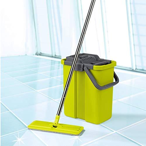 cleanmaxx Komfort-Mopp, Wischmop & Eimer, 2 Kammer System, Auswring-Mechanismus, Wischtuchpresse, Haushaltshilfe, Bodenwischer, Kunststoff, Stahl