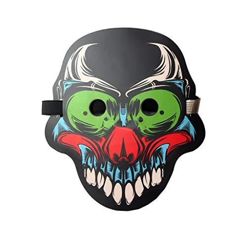 NZQMJ LED Sound Control Maske Bar Party Glow Maske Halloween Maske Nachtclub Atmosphäre Requisiten DJ Clown Maske
