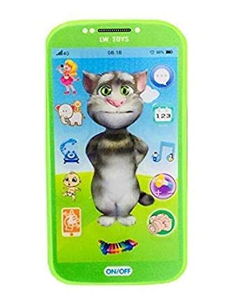 My Talking First Learning Kids Mobile Smartphone with Touch Screen and Multiple Sound Effects, Along with Neck Holder for Boys & Girls - Multi Color (Talking Tom)