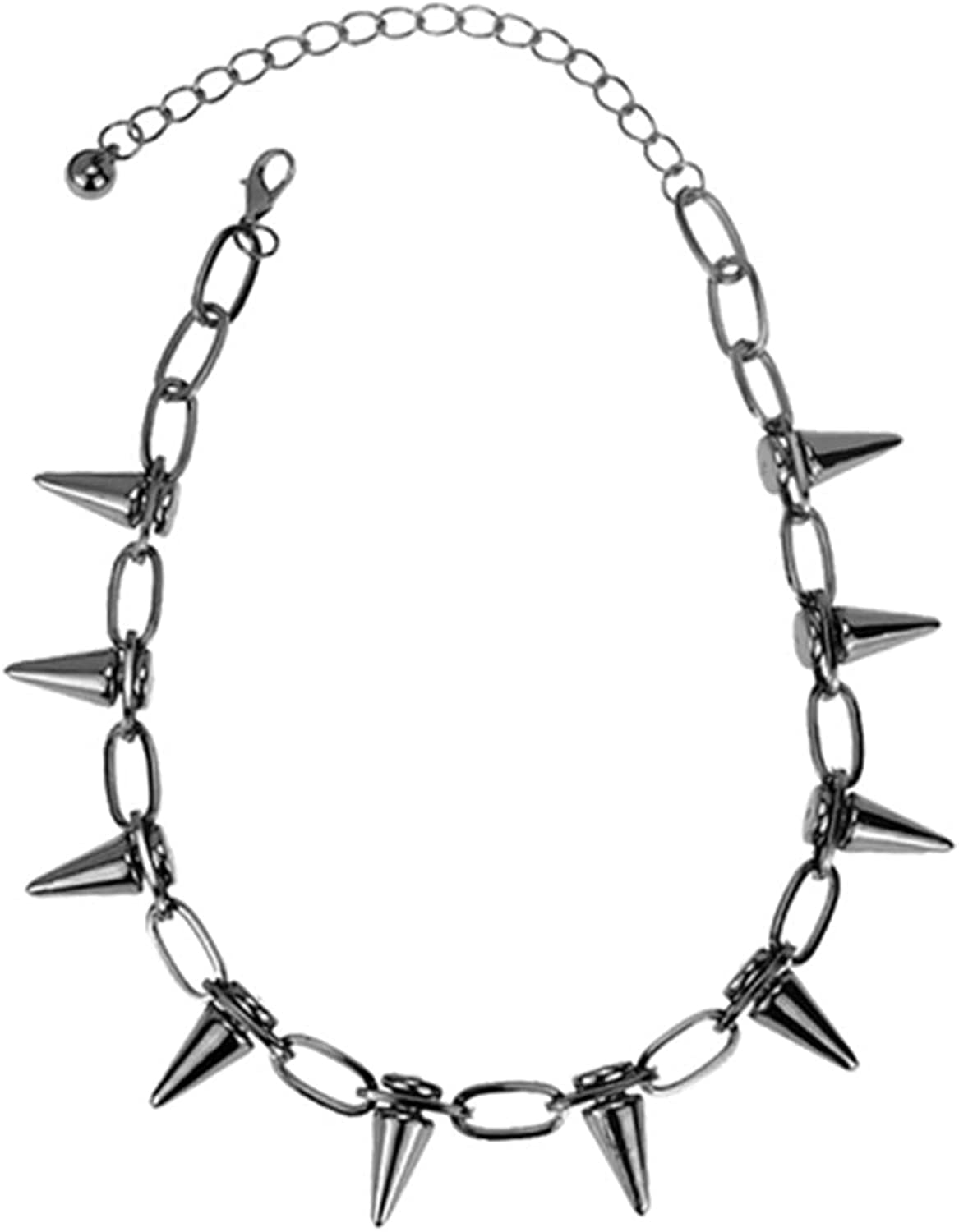Pingyongchang Vintage Necklace Exaggerated Punk Rivet Necklace Bullet Necklace Collarbone Chain