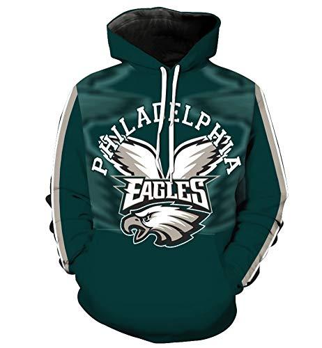 Preisvergleich Produktbild American Football Hoodie - Philadelphia Eagles Langarm-T-Shirt Männer Beiläufige Sweatshirt Herbst Sweatshirt Fans Trikots, XL